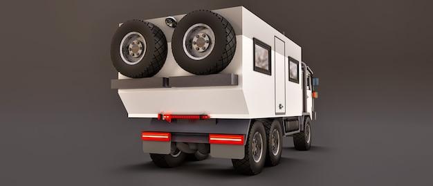 Duża biała ciężarówka na szarym tle, przygotowana na długie i trudne wyprawy w odległy teren. ciężarówka z domem na kółkach. ilustracje 3d.