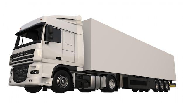 Duża biała ciężarówka z naczepą. szablon do umieszczania grafiki. renderowania 3d.