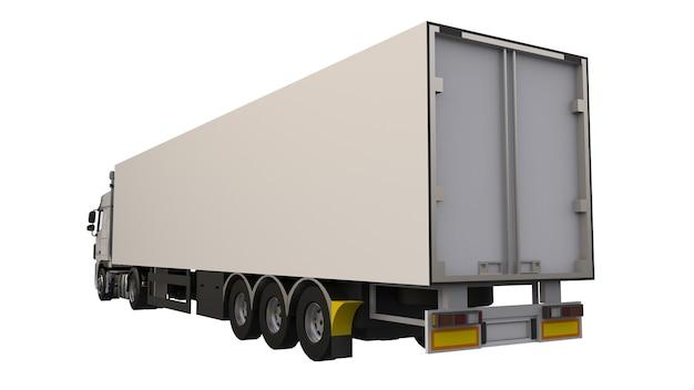 Duża biała ciężarówka z naczepą. szablon do umieszczania grafiki. renderowanie 3d.
