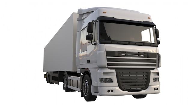 Duża biała ciężarówka z naczepą