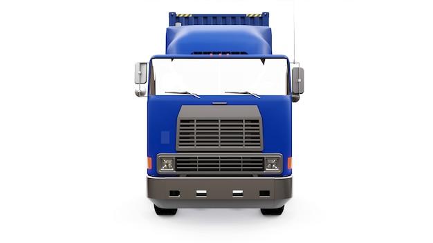 Duża ciężarówka retro z częścią sypialną i aerodynamiczną nadstawką przewozi przyczepę z kontenerem morskim. z boku ciężarówki znajduje się pusty biały plakat do twojego projektu. renderowanie 3d.