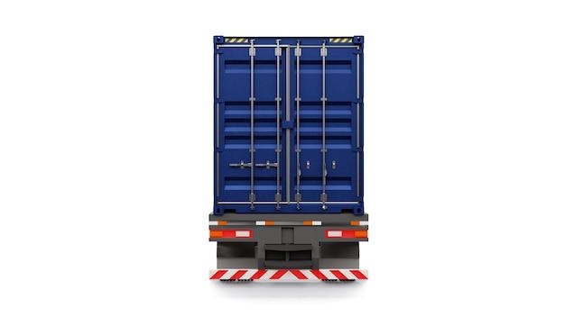 Duża ciężarówka retro z częścią sypialną i aerodynamicznym nadstawką przewozi przyczepę z kontenerem morskim.