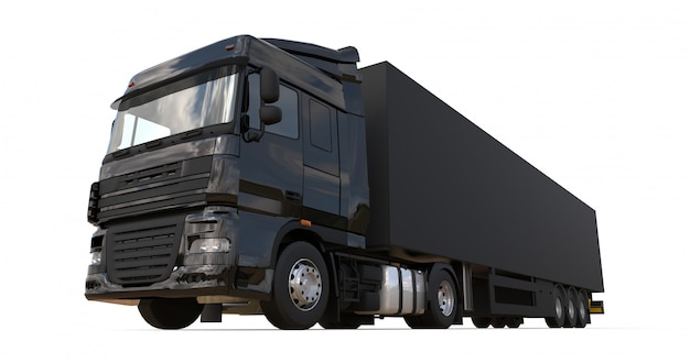 Duża czarna ciężarówka z naczepą. szablon do umieszczania grafiki. renderowania 3d.