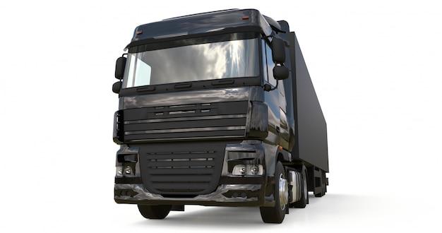Duża czarna ciężarówka z naczepą. szablon do umieszczania grafiki