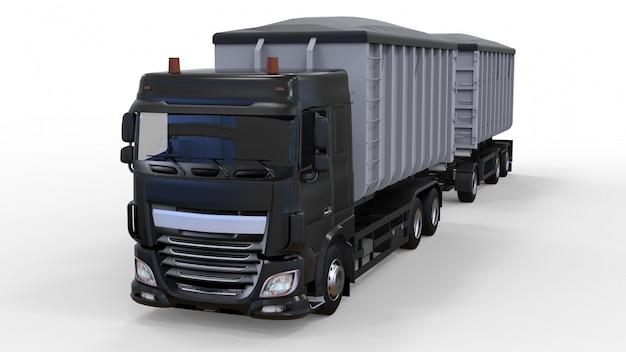 Duża czarna ciężarówka z oddzielną przyczepą do transportu materiałów i produktów rolniczych i budowlanych