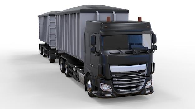 Duża czarna ciężarówka z oddzielną przyczepą do transportu materiałów i produktów sypkich rolniczych i budowlanych. renderowanie 3d.