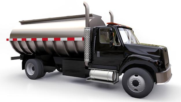 Duża czarna cysterna samochodowa z przyczepą z polerowanego metalu. widoki ze wszystkich stron. ilustracja 3d.