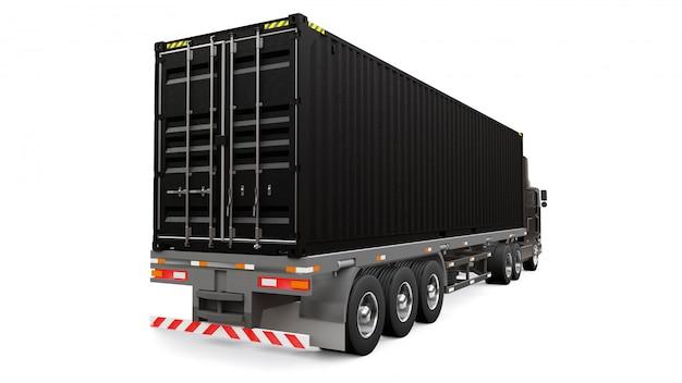Duża czarna retro ciężarówka z częścią sypialną i aerodynamicznym przedłużeniem przewozi przyczepę z kontenerem morskim
