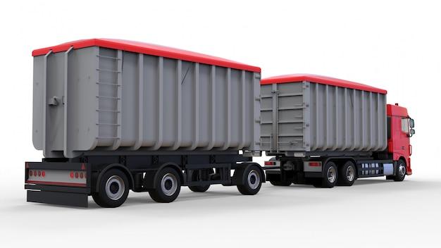 Duża czerwona ciężarówka z osobną przyczepą do transportu materiałów i produktów rolniczych i budowlanych