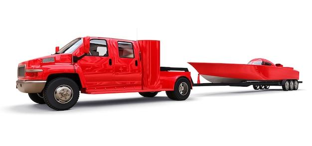 Duża czerwona ciężarówka z przyczepą do transportu łodzi wyścigowej na białym tle. renderowanie 3d.