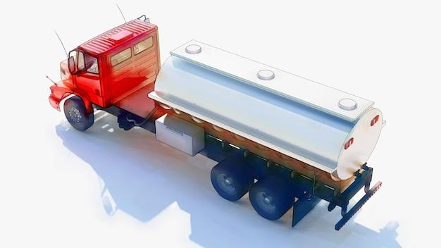 Duża czerwona cysterna samochodowa z przyczepą z polerowanego metalu. widoki ze wszystkich stron. ilustracja 3d.