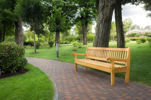 Duża drewniana ławka pod drzewami w pięknym parku?