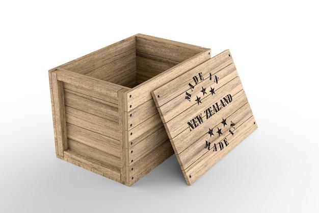 Duża drewniana skrzynia z tekstem made in made in nowej zelandii na białym tle. renderowanie 3d
