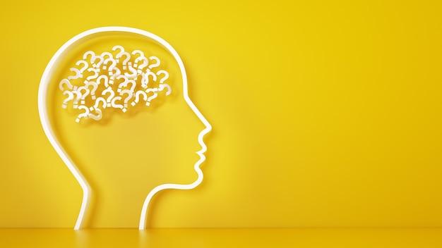 Duża głowa ze znakami zapytania w mózgu