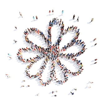 Duża grupa ludzi w kształcie kwiatu, rośliny. izolowane, białe tło.