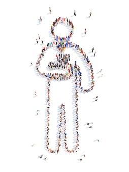 Duża grupa ludzi w kształcie mężczyzny izolowane