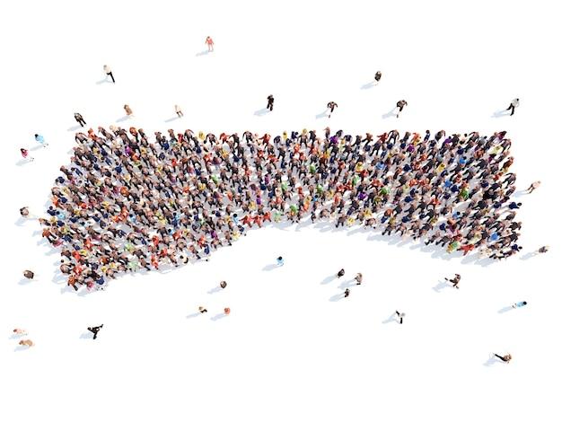 Duża grupa ludzi w postaci dłoni