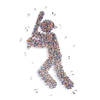 Duża grupa mężczyzn w mundurze baseballista izolowane