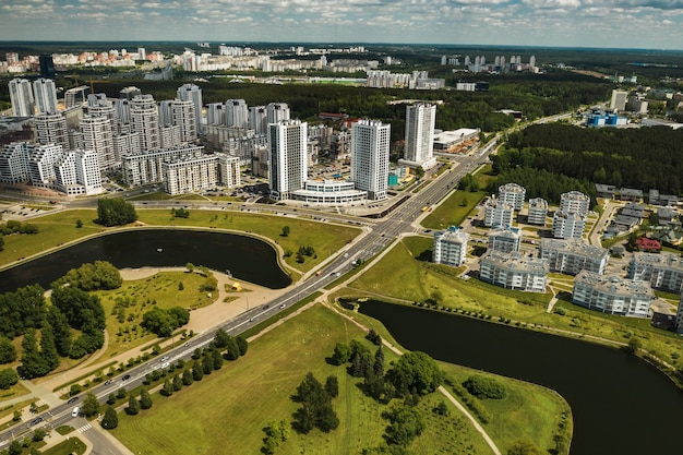 Duża liczba domów we wschodniej części mińska