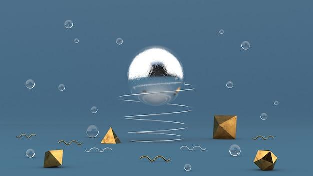 Duża metalowa kula i sprężyna, szklane kule, złote kształty. streszczenie ilustracji, renderowania 3d.