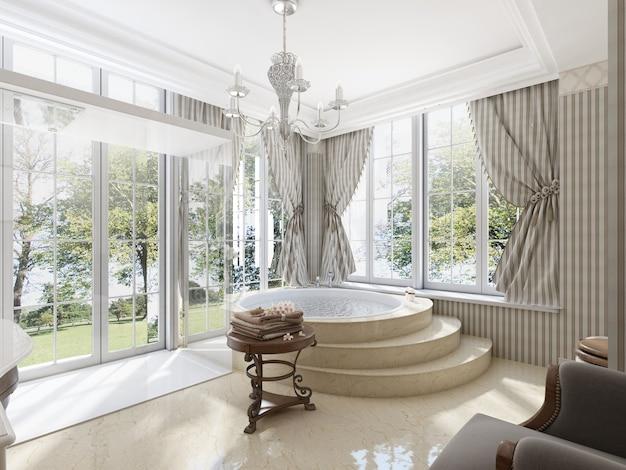 Duża okrągła wanna w łazience w klasycznym stylu. marmurowe stopnie i podłoga. niski stolik na bieliznę i toaletę z bidetem. renderowania 3d.