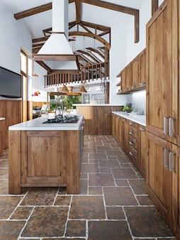 Duża piękna kuchnia w stylu rustykalnym z wyspą i okapem oraz zabudowanym sprzętem agd