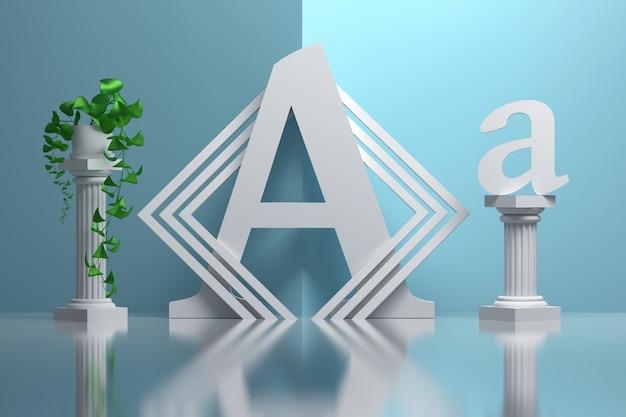 Duża pogrubiona litera a w kompozycji z greckimi kolumnami i roślinami doniczkowymi