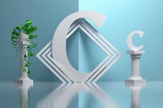 Duża pogrubiona litera c w kompozycji z greckimi kolumnami i roślinami doniczkowymi