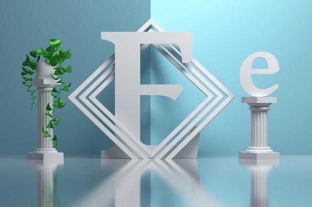 Duża pogrubiona litera e w kompozycji z greckimi kolumnami i roślinami doniczkowymi