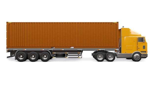 Duża pomarańczowa ciężarówka retro z częścią sypialną i aerodynamicznym nadstawką przewozi przyczepę z kontenerem morskim