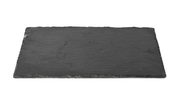 Duża prostokątna czarna kamienna tablica łupkowa na białym tle, naczynia do serwowania jedzenia