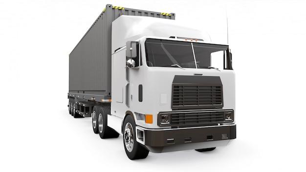 Duża retro biała ciężarówka