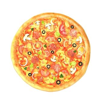 Duża smaczna pizza na białym tle