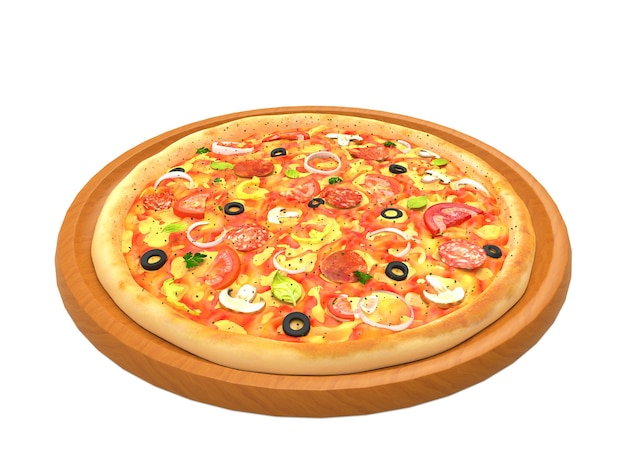 Duża smaczna pizza na drewnianym talerzu na białym tle