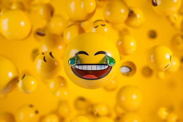 Duża śmiejąca się twarz emoji ze łzami na żółtym tle z rozmyciem. ilustracja renderowania 3d.