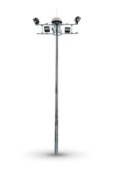 Duża zewnętrzna latarnia uliczna lub lampa drogowa na białym tle