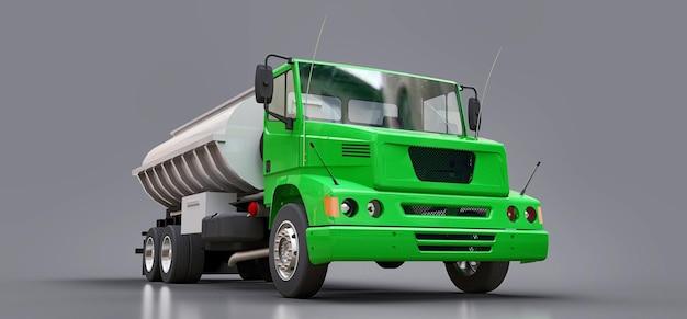 Duża zielona cysterna samochodowa z przyczepą z polerowanego metalu. widoki ze wszystkich stron. ilustracja 3d.