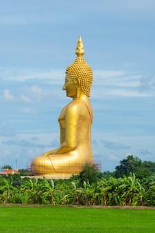 Duża złota buddha statua przy wat muang świątynną angthong prowincją