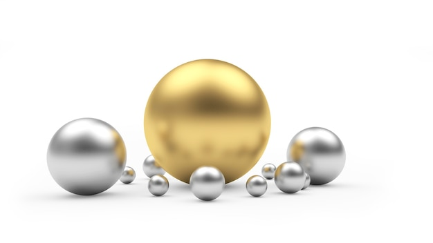 Duża złota kula i srebrne kule 3d