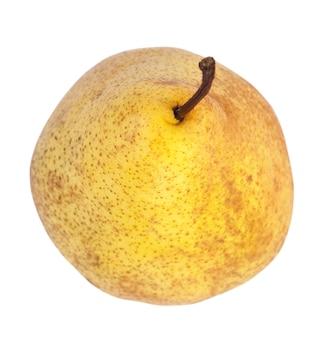 Duża żółta pyszna gruszka na białym tle (ze ścieżką)