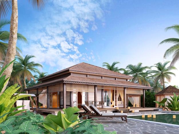 Duże luksusowe bungalowy na wyspach