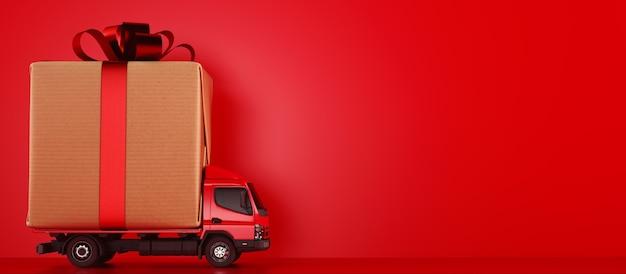Duże pakiety prezentów świątecznych na czerwonej ciężarówce gotowe do dostawy