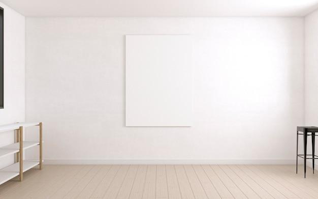 Duże płótno na ścianie pokoju artysty