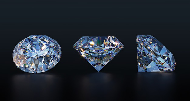 Duże przezroczyste diamenty na ciemnym stole