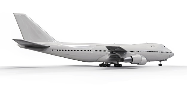 Duże samoloty pasażerskie o dużej pojemności do długich lotów transatlantyckich. biały samolot na białym odosobnionym tle