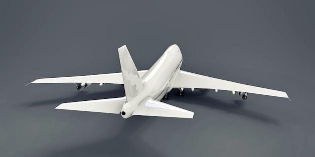 Duże samoloty pasażerskie o dużej pojemności do długich lotów transatlantyckich. biały samolot na szarym tle na białym tle. ilustracja 3d.