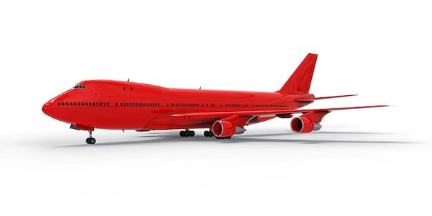 Duże samoloty pasażerskie o dużej pojemności do długich lotów transatlantyckich. czerwony samolot na białej odosobnionej powierzchni