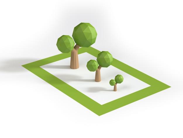 Duże średnie małe drzewa niskie poli w obszarze zielony kwadrat stylu cartoon renderowania 3d