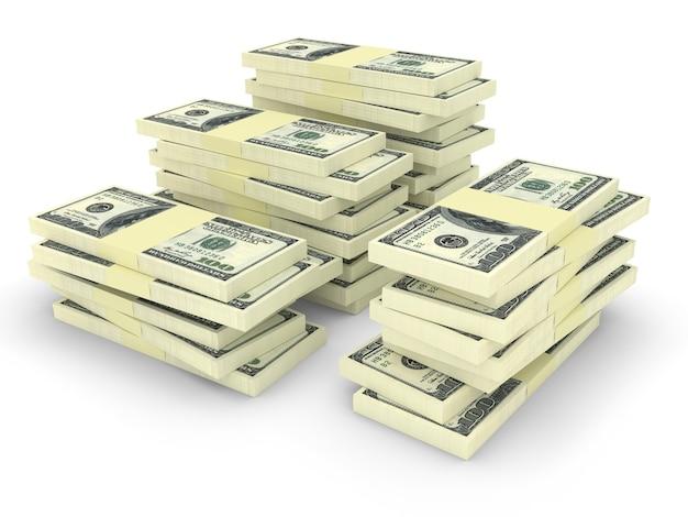Duże stosy pieniędzy na białym tle