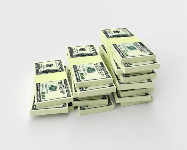 Duże stosy pieniędzy od dolarów na białym tle. finanse koncepcyjne